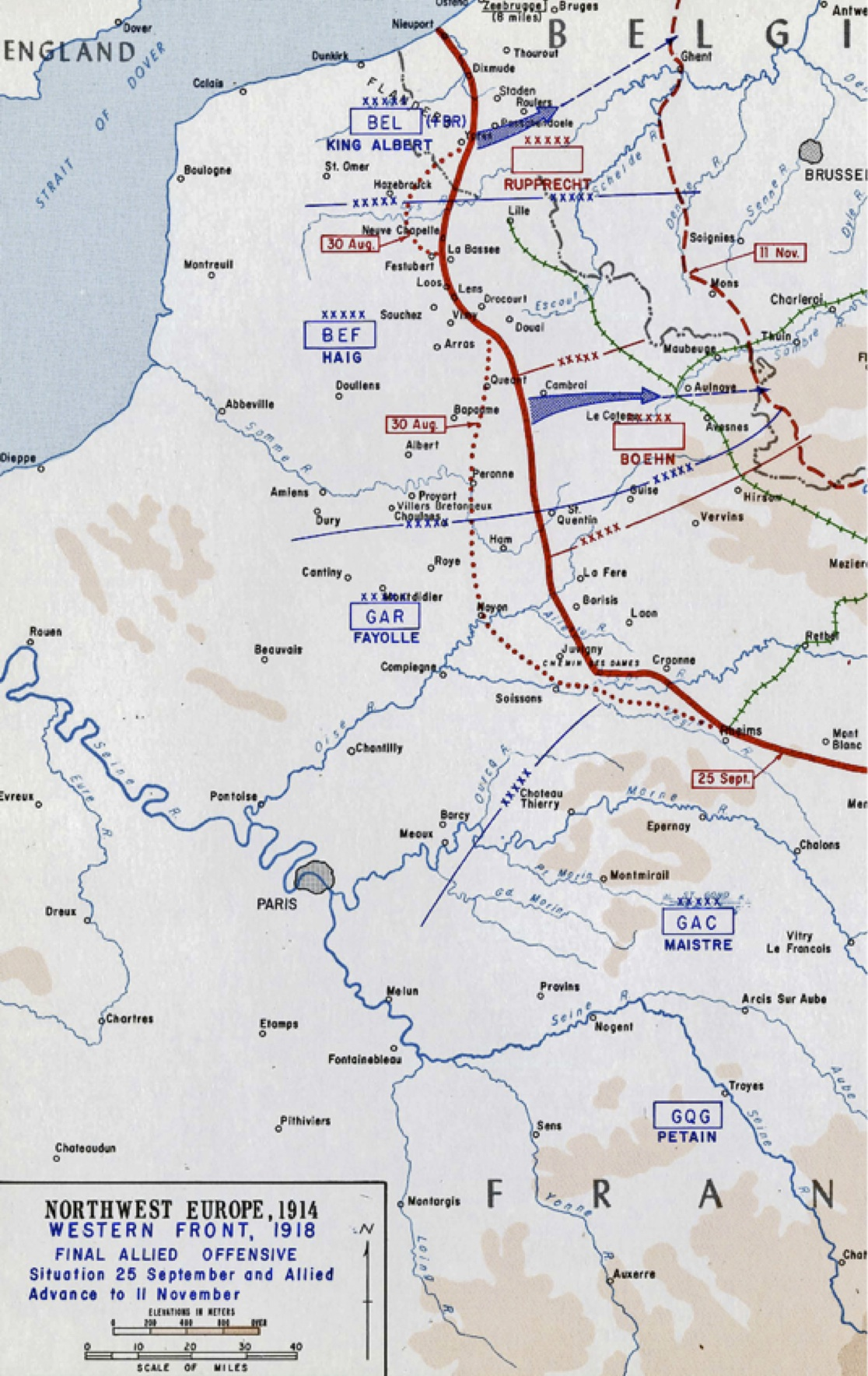 Map of WWI front line